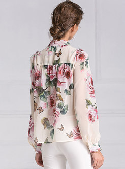 Chic Print Tied-collar Bowknot Loose Casual Blouse