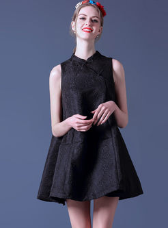 Retro Mandarin Collar Sleeveless Loose Shift Dress