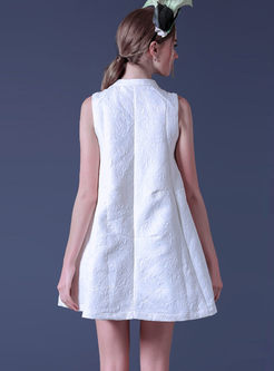 Brief Solid Color Sleeveless Mini Shift Dress