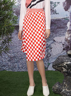Stylish High Waist Plaid Asymmetric Slim Skirt