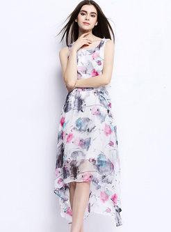 Bohemian O-neck Sleeveless Print Irregular Dress