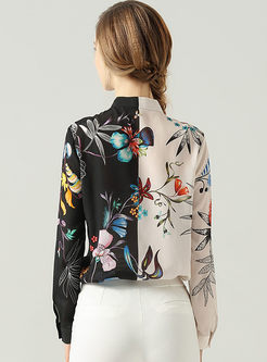 Color-blocked Long Sleeve Print Silk Blouse
