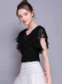 V-neck Falbala Mesh Splicing Knitted Slim T-shirt