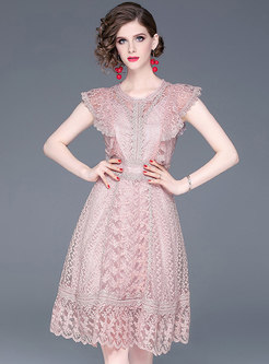 Sleeveless Lace A Line Empire Waist Dress