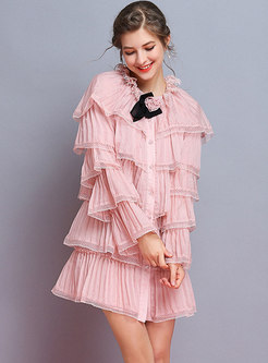 Pure Color Pleated Falbala Flare Sleeve Sweet Shift Dress