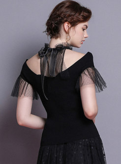 Chic Mesh Collar Off Shoulder Bowknot Knitted T-shirt