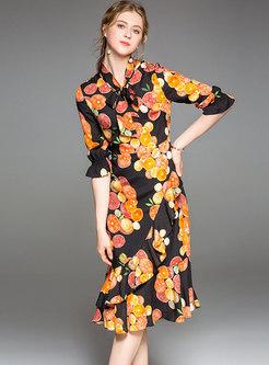 Multi-color Print Falbala Tied Irregular Mermaid Dress