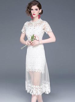 Elegant Hollow Out Diamond Lace High Waist Bodycon Dress