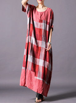 Casual Loose Short Sleeve Plaid Maxi Dress