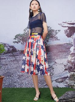 Fashion High Waist Star Print Stripe Skirt