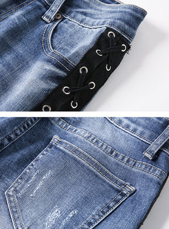 Flocking Tied Splicing Shredded Zip-up Pencil Jeans
