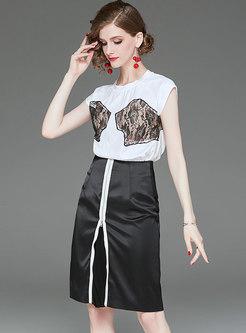 Hit Color Lace Splicing T-shirt & Split Sheath Skirt