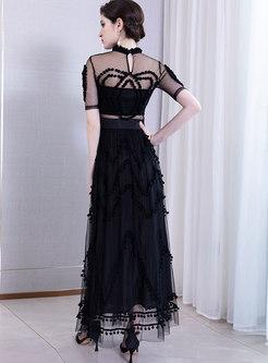 Sexy Stand Collar Perspective High Waist Maxi Dress