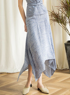 Chic Print High Waist Asymmetric Skirt