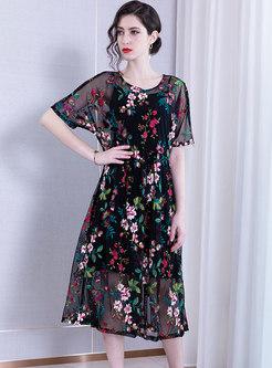 Stylish Mesh Embroidered Slim Midi Dress With Cami