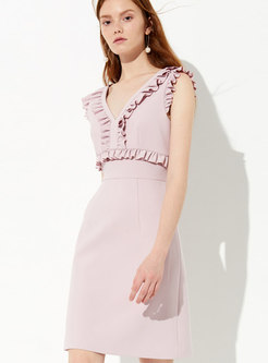 Elegant Pink V-neck Falbala Sleeveless Slim Dress