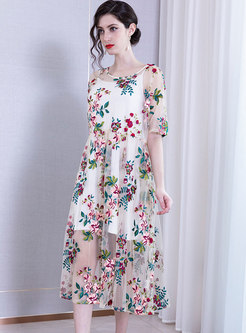 Chic Mesh Embroidered Slim Midi Dress With Cami
