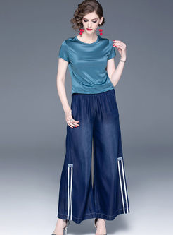 Casual Elastic High Waist Wide Leg Pants