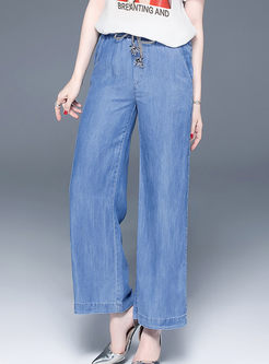 Fashion High Waist Tied Wide Leg Pants