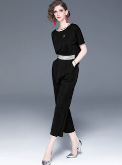 Casual O-neck Hot Drilling Wide Leg Jumpsuits