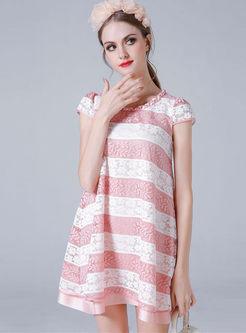 O-neck Short Sleeve Stripe Lace Shift Dress