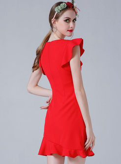 Elegant O-neck Falbala Slim Bodycon Dress