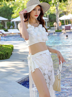Solid Color Halter Gathered Three Piece Swimwear