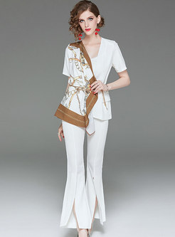 Elegant Asymmetric Print Splicing Slim Coat & Split Flare Pants