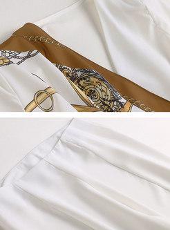 Elegant Asymmetric Print Splicing Slim Coat & Split Flare Pants