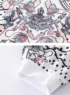 Casual Polka Dot Print O-neck T-shirt