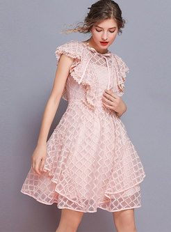 Stylish Lace O-neck Bowknot Asymmetric Slim Dress