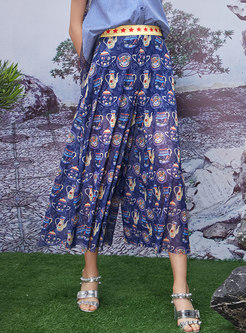 Loose Mesh Color-blocked Print Casual Wide Leg Pants