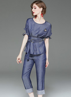 Denim O-neck Summer Belted Top & Elastic Waist Pants