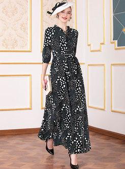 Stylish O-neck Tied Print High Waist Maxi Dress
