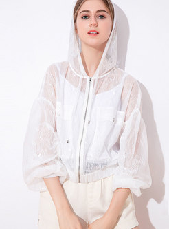Solid Color Lace Loose Hollow Out Sun-proof Coat