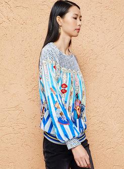 Casual O-neck Pullover Print Loose Sweatshirt