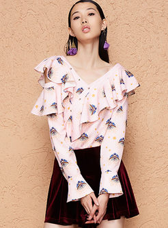 Fashion V-neck Flare Sleeve Falbala Print Blouse