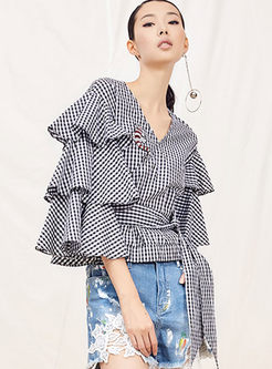 Chic V-neck Ruffled Sleeve Plaid Slim Blouse