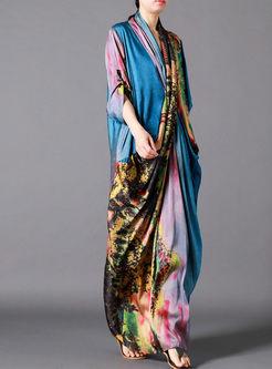 Ethnic Cross V-neck Print Splicing Shift Dress