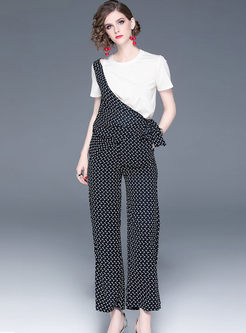 O-neck Short Splicing Print T-shirt & Wide Leg Pants