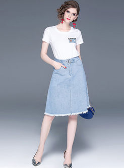 Stylish O-neck Pullover T-shirt & Denim A Line Skirt