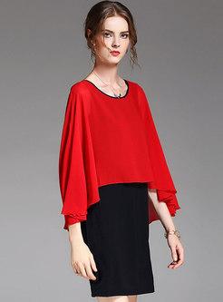 Stylish Color-blocked Cloak Stitching Sheath Dress