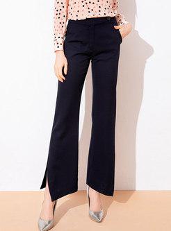 High Waist Split Asymmetric Work Flare Pants
