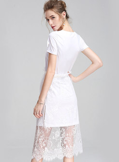Brief Letter Print V-neck Casual T-shirt Dress