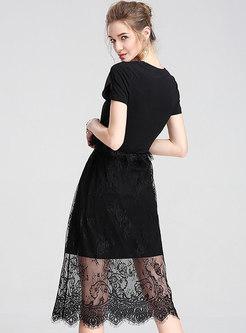 Brief Letter Print V-neck Black Slim T-shirt Dress
