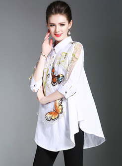 Loose Lapel Butterfly Print Irregular Blouse