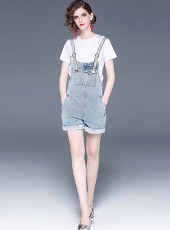 Brief Pure Color Pullover T-shirt & Denim Overalls