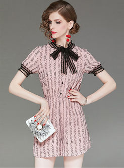 Lace Bowknot Standing Collar High Waist Print Rompers