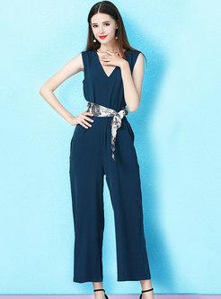 Elegant V-neck Sleeveless Tied Slim Jumpsuit