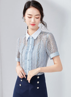 Chic Lace Lapel Hollow Out Blouse With Cami